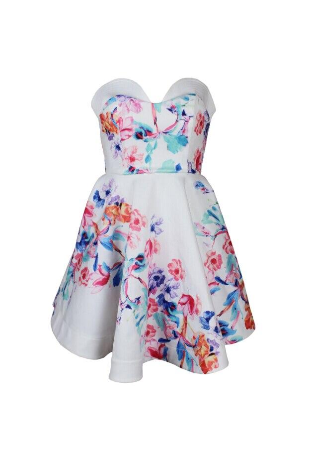 Мини-платье пикантные Клубные пляжная обувь для повседневной носки или вечеринки элегантные с цветочным принтом без рукавов с открытой спиной с открытыми плечами уличная лето