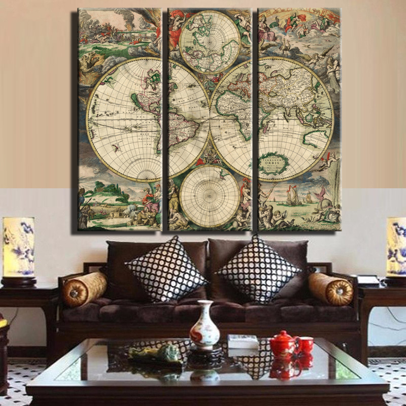 Vintage world map large canvas painting print unframed 3 panel vintage world map large canvas painting print unframed 3 panel canvas art antique wall map decor study room in painting calligraphy from home garden on gumiabroncs Choice Image