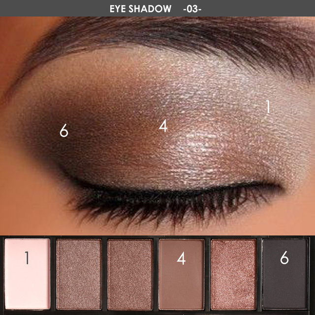 FOCALLURE 6 Colors Eyeshadow Palette Glamorous Smokey Color Eye Shadow Shimmer Glitter Smooth Creamy Powder Makeup Eye Shadow 3