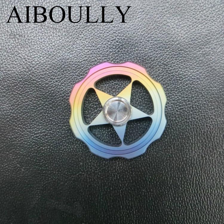 Titanium alloy color hollo градиент непоседа счетчик моды офис relax игрушки вращаться на 3 минуту выше пятиконечная звезда руки spinner