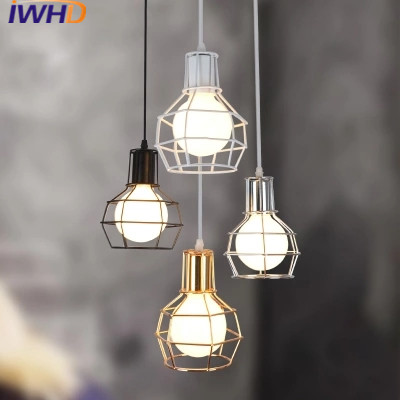 IWHD Style Loft Industrial Hang Lights Iron Cage Vintage LED Pendant Light Industrial Lighting Lampen Dining Restaurant Lustre new loft vintage iron pendant light industrial lighting glass guard design bar cafe restaurant cage pendant lamp hanging lights