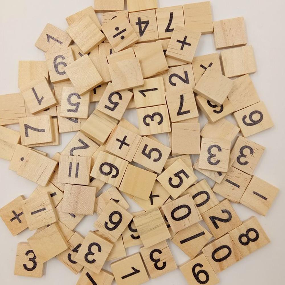100x Holz Scrabble Fliesen Buchstaben Zahlen FÜr Handwerk Holz Alphabete Block Neue