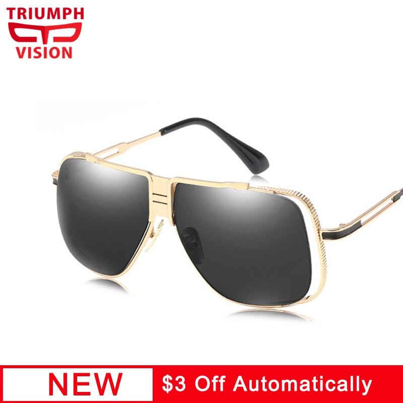 TRIUNFO de VISÃO óculos de Sol Dos Homens do Metal do Ouro Trending Projeto  Fresco Shades 2d7e1b5938