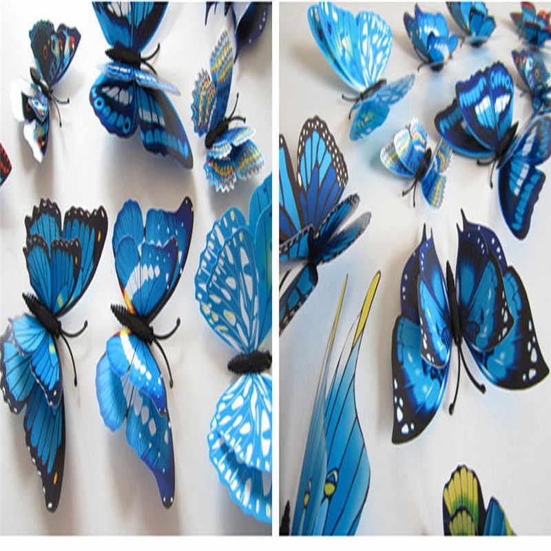 Cortinas de borboleta 3d 12x, vestido de parede decorativo com fivela, camada dupla com pinos, novidade de 2020 d36jl24
