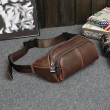 New men's chest bag casual pocket Men Messenger Bag with small  tide men's crazy horse leather retro shoulder bag
