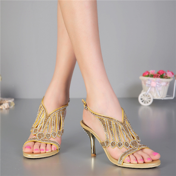 G-SPARROW 2017 Summer New Diamond Gold High Heeled Stiletto Sandals Online Female Crystal Shoes new 2017 fashion female warm ankle boots lace women boots snow boots and autumn winter women shoes