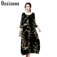 4XL 2018 Autumn Winter Large Size Women Dress Velvet Dress Female Vintage Print Loose Expansion O
