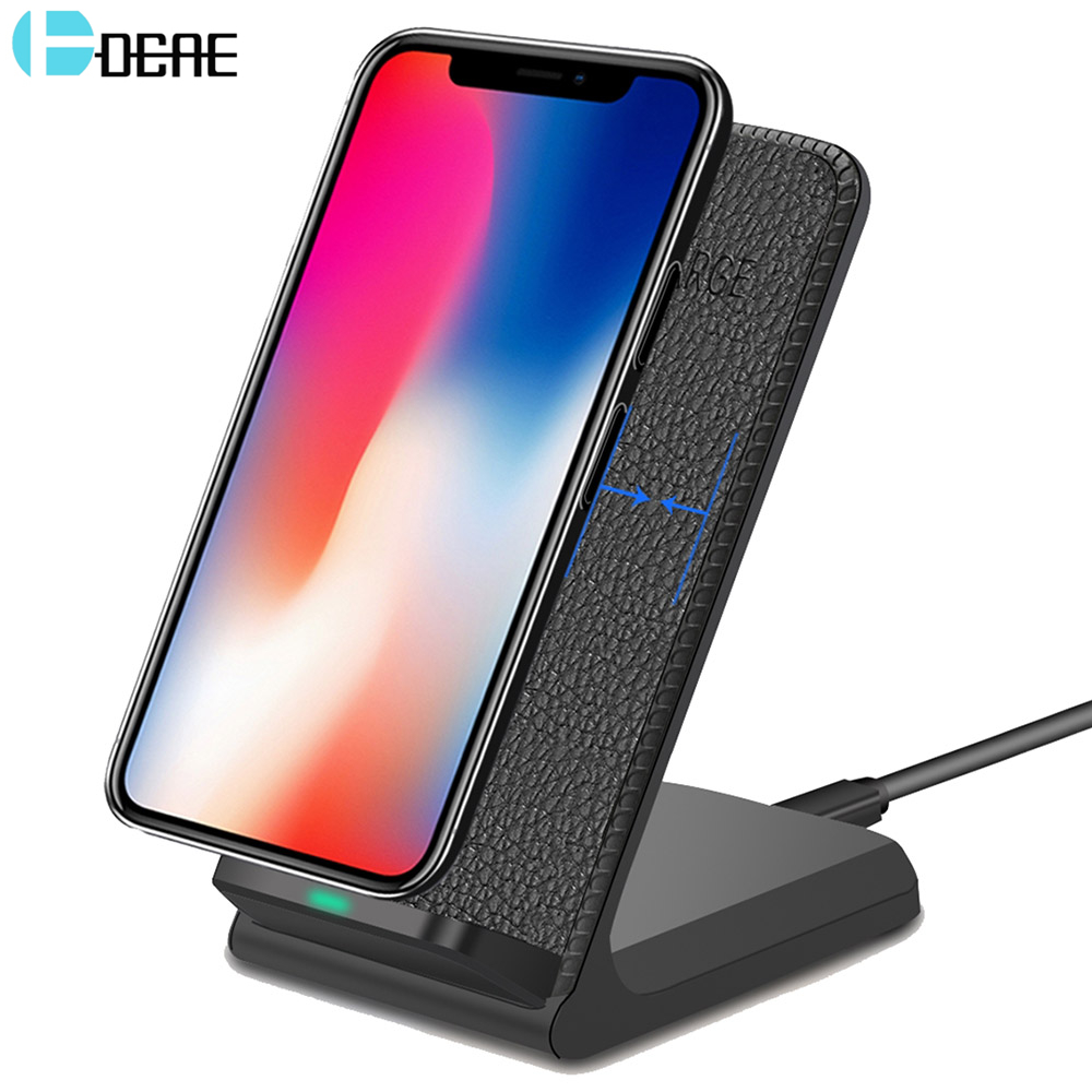 DCAE Leather Qi Wireless Charger For iPhone X 8 Plus Quick Charge Fast Wireless Charging Pad Car Holder Stand For Samsung S9 S8