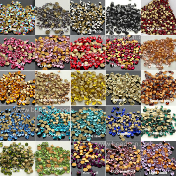 1440pcs bag rose pointed back Glass Chatons Crystal rhinestones Many size  Round Fancy Crystal Pointback For Jewelry Accessory-in Rhinestones from  Home ... 14b3218a2ea4