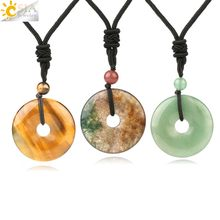 CSJA Donut Natural Gem Stones Men Necklaces Pendant Girl Reiki Crystal Necklace Dragon Blood Green Aventurine Agates Rope S458(China)