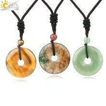 CSJA Natural Gem Stones Donut Pendant Necklaces for Girl Reiki Pink Crystal Tiger Eye Green Aventurine Moss Agates Men Rope S458