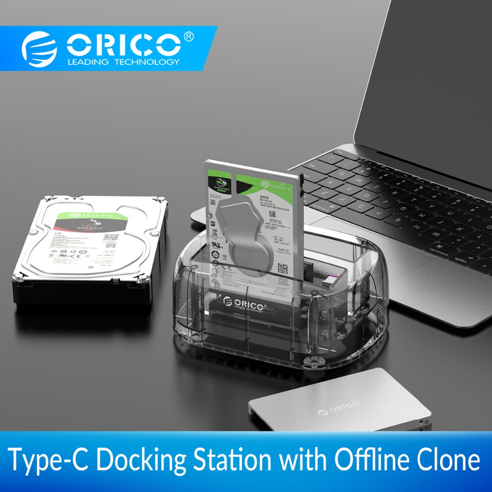 ORICO 2 5 3 5inch 2 Bay Transparent Type C External Hard Drive Docking Station with