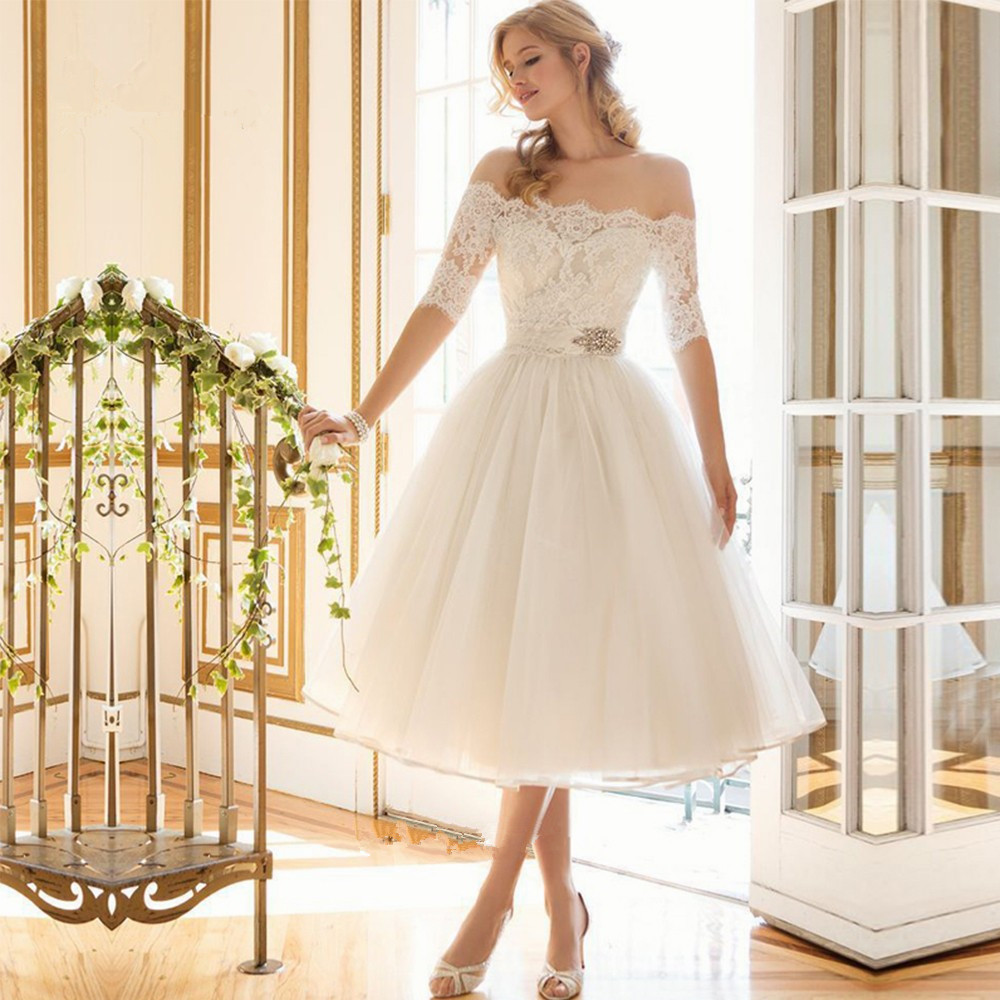 Country Western Vintage Short Half Sleeve Vestido de Noiva Curto Lace Knee Length bridal gown 2018   bridesmaid     dresses