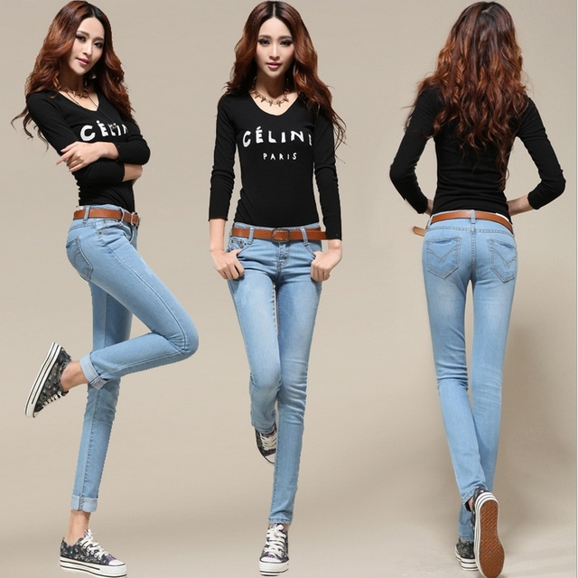 Hot Sale Womens Fashion Sexy Stretch Slim Fit Jeans Pencil Pants Tight Jeans Free Shipping