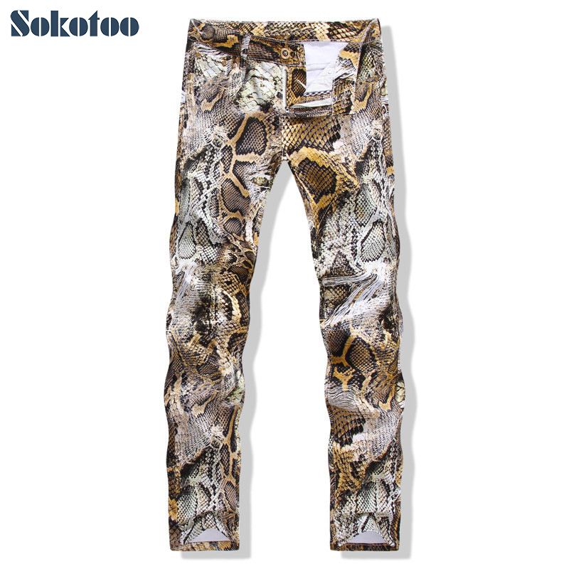 Sokotoo Men's fashion snakeskin print   jeans   Slim colored stretch denim pants for man