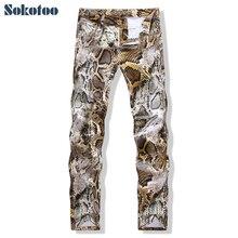 Sokotoo erkek moda yılan derisi baskı kot Ince renkli streç denim pantolon adam