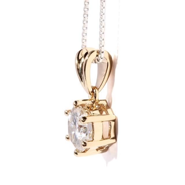 Queen brilliance sólido 18 k 750 ouro amarelo 1 carat ct F Cor Lab Grown Moissanite Diamante Pingente de Colar Para As Mulheres KX16081303
