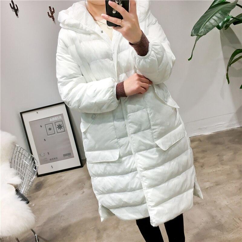 Longue Parka Couleur Femme Coréenne Blanc Solide Style Veste 2016 Hiver De vgSqtxw