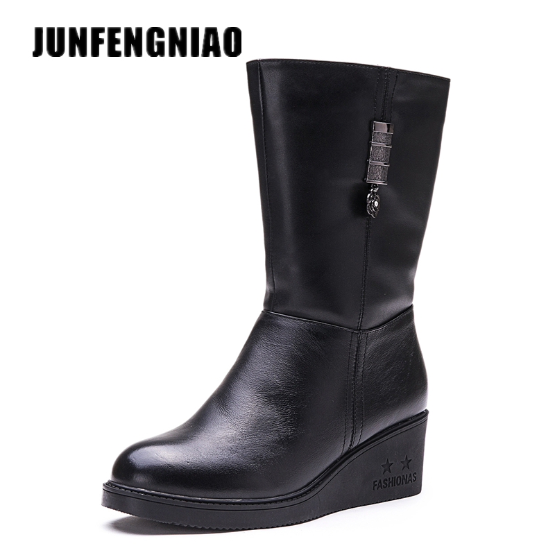 JUNFENGNIAO Women Shoes Snow Rain Boots Female Plush Fur Winter Warm Round Toe Cow Genuine Leather Knee High Zipper GZXM-651 doratasia big size 34 43 women half knee high boots vintage flat heels warm winter fur shoes round toe platform snow boots