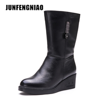 JUNFENGNIAO Women Shoes Snow Rain Boots Female Plush Fur Winter Warm Round Toe Cow Genuine Leather