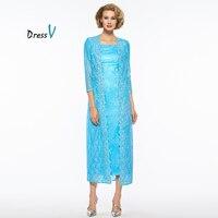 Dressv light royal blue 2 piece mother of the bride dress 3/4 sleeve wedding party formal dress mother of the bride dress custom