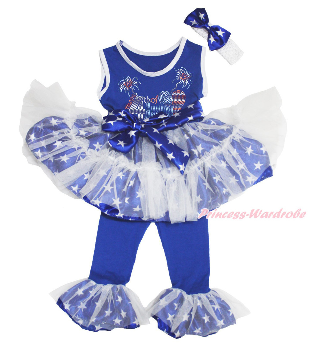 4th July Rhinestone USA Flag Heart Star Top Dance Ruffle Tutu Dress Pants 1-8Y MAPSA0687