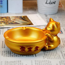 1PC Popular Fortune Cat Resin Ash Pot Craft Gift Ashtray Pot Decoration,Pure Manual Drawing Home Decor Ashtrays(China)