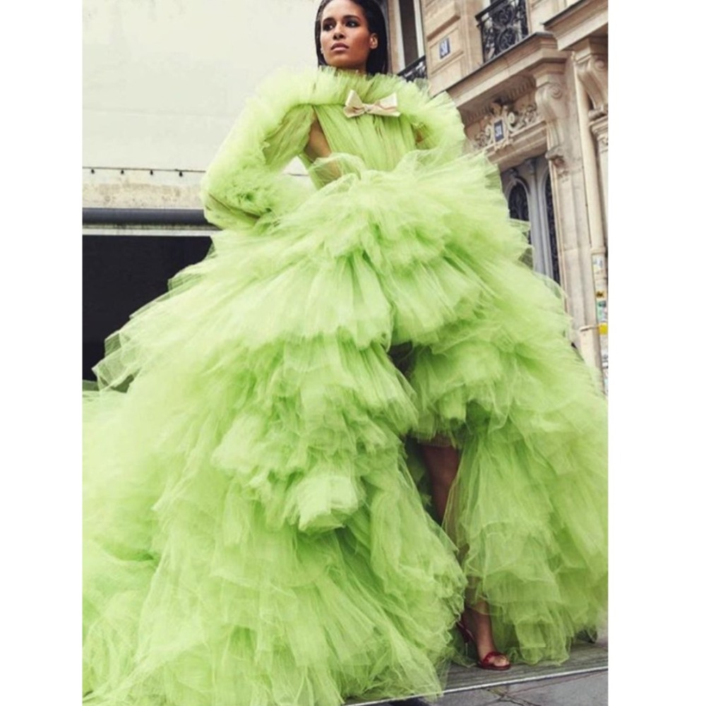 High Street 2019 Green Tutu High Low Prom Gowns Ruffles Tiered Long Formal Party Clothing Full