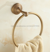 Antique Brass Round Style Wall-Mounted Towels Ring Holder Hanger Bathroom Towel Bar Nba033 цена и фото