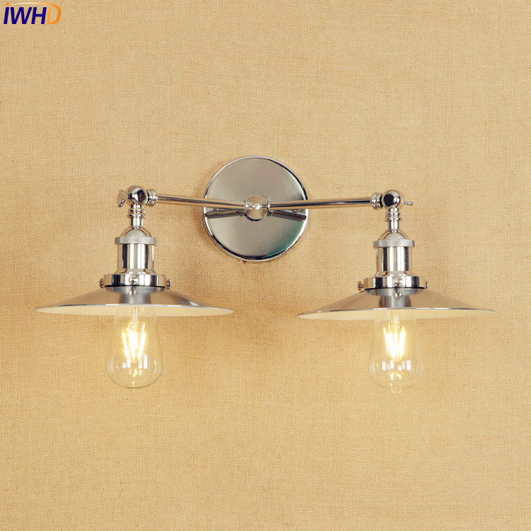 IWHD 2 Heads Vintage Wall Lamp Metal Silver LED Edison Industrial Retro Wall Lights Sconce Adjustable Arm Bathroom Mirror Light