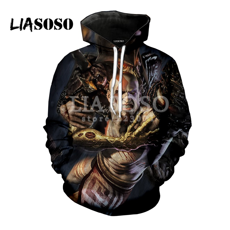 LIASOSO latest fashion hooded game God of war men and women hooded 3D printing men and women hoodies top brand clothing M049