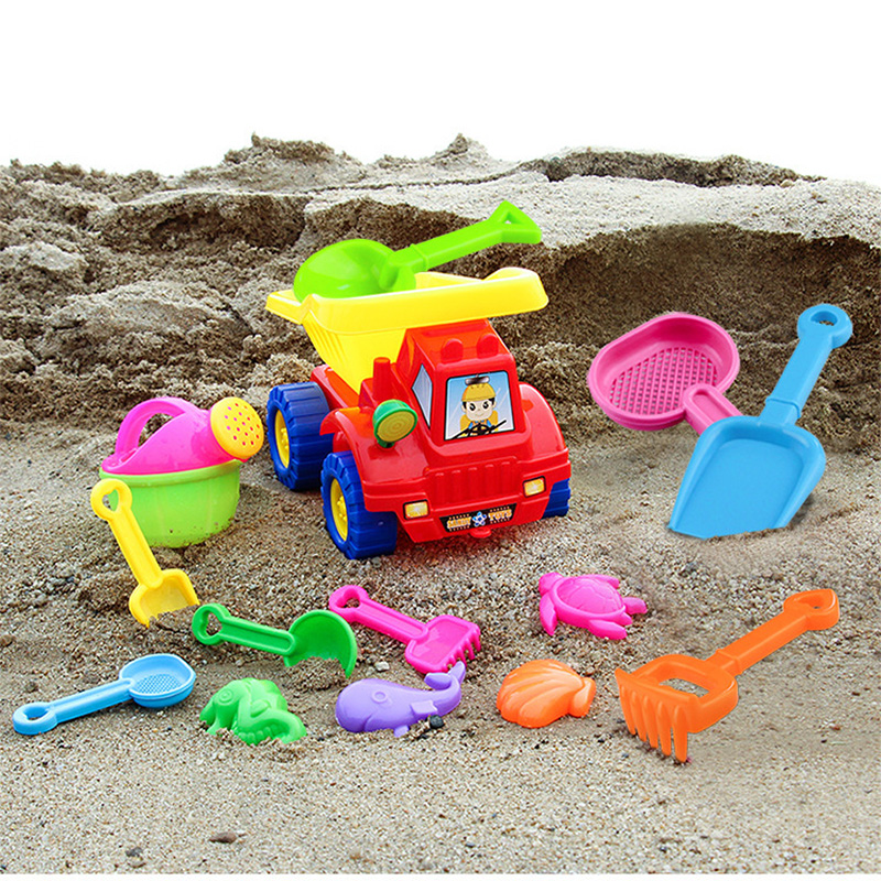 SLPF 14 piece Set Children Beach Toys Kids Baby Tuba Hourglass Dredging Mold For Sand Shovel Tool Parent child Outdoor Game G31 in Beach Sand toys from Toys Hobbies