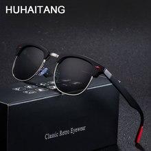 HUHAITANG Luxury Brand Square Sunglasses Men Polarized Designer Classic Rivet Women Sunglass Retro Outdoor Sun Glasses For Man
