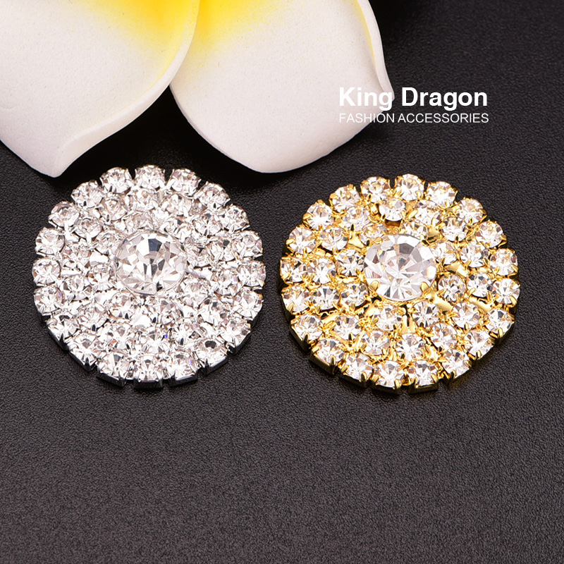 Crystal Rhinestone Button Used On Invitation Card 25MM 100pcs lot Silver Tone Or Gold Flat Back