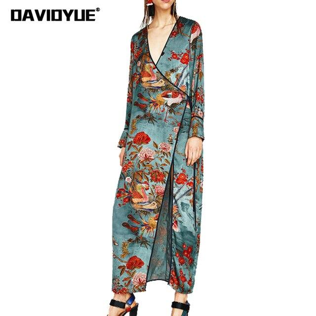 e101f9ab40a1 2018 stampa Floreale kimono vestito lungo Sexy delle donne scollo a v  manica lunga abito vintage Casual
