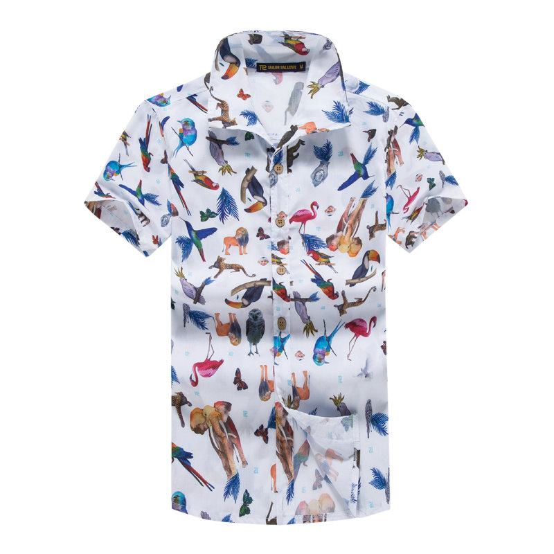5XL Mens Hawaiian Shirt Animal Print Summer Fashion Casual Short Sleeve Shirts Men Hawaii Brand Beach Clothing Camisa Masculina
