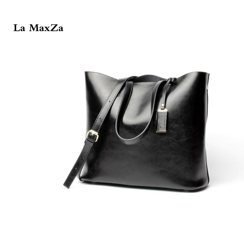 La MaxZa Gifts For Valentine's Day Leather Fashion Women Handbags Split Leather Shoulder Bag Large Designer Ladies Shoulder Bags