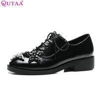 QUTAA 2017 Women Pumps Summer Ladies Shoes Low Heel PU Leather Lace Up Rhinestone Black Woman