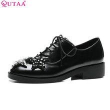 QUTAA/Женские туфли-лодочки 2017 г. Летняя женская обувь на низком каблуке из искусственной кожи Кружево со стразами черный женская свадебная обувь Размеры 34–43