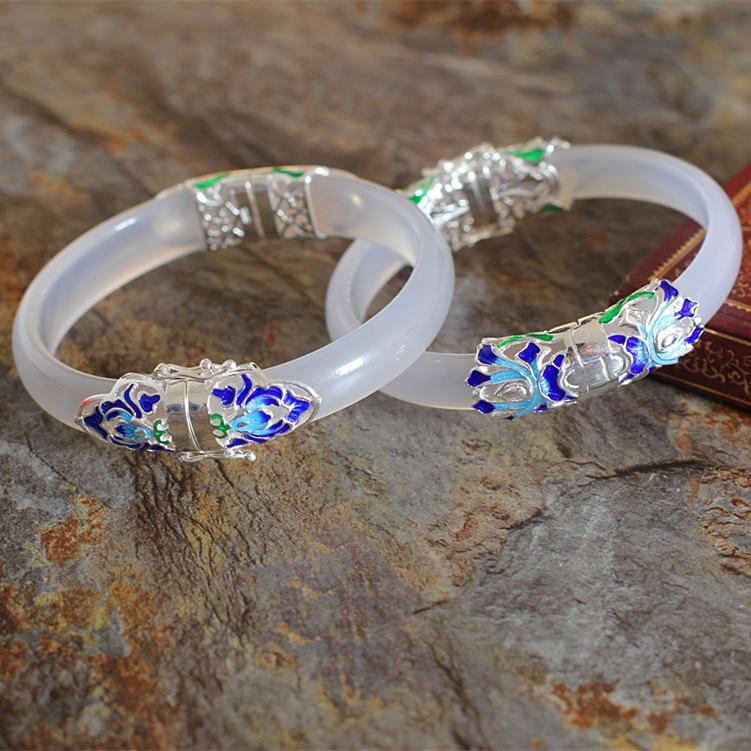 Natural white chalcedony women bracelet 925 sterling silver micro-inserts multicolored peacock bracelet zx 0611 ellipse stylish women s rhinestones bracelet multicolored
