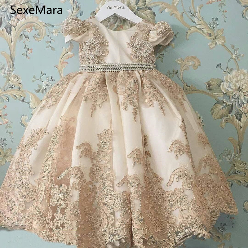 Champagne Lace Flower Girl Dresses Jewel Neck Appliqued Little Princess Pageant Dress Little Baby Gowns For Communion