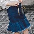 Saias meninas Primavera Verão Crianças Saias Sólida Saia Jeans Casual Roupa Dos Miúdos Estilo Sereia Bonito Roupa Do Bebê Na Altura Do Joelho-comprimento saia