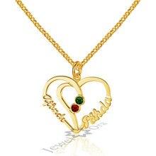 Personalizado Grabado 2 Birthstone Colgantes Del Corazón DIY 2 Nombres Collares de Plata de ley 925 Collares y Colgantes Regalo de la Amistad