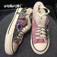 Парусиновая обувь ручной работы, украшенная кристаллами, женские меховые сникерсы, зимняя меховая обувь для катания на коньках, женская зим