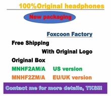 10pcs/lot With packing Original material assembly Foxconn headset in ear headphones earphone Remote Mic for 3.5mm plug