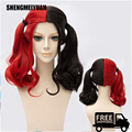SHENGMEIYUAN Fashion Style Batman Movie Film Suicide Squad Harley Quinn Cosplay Wig Curly Gradient Hair Free Ship Heat resistant