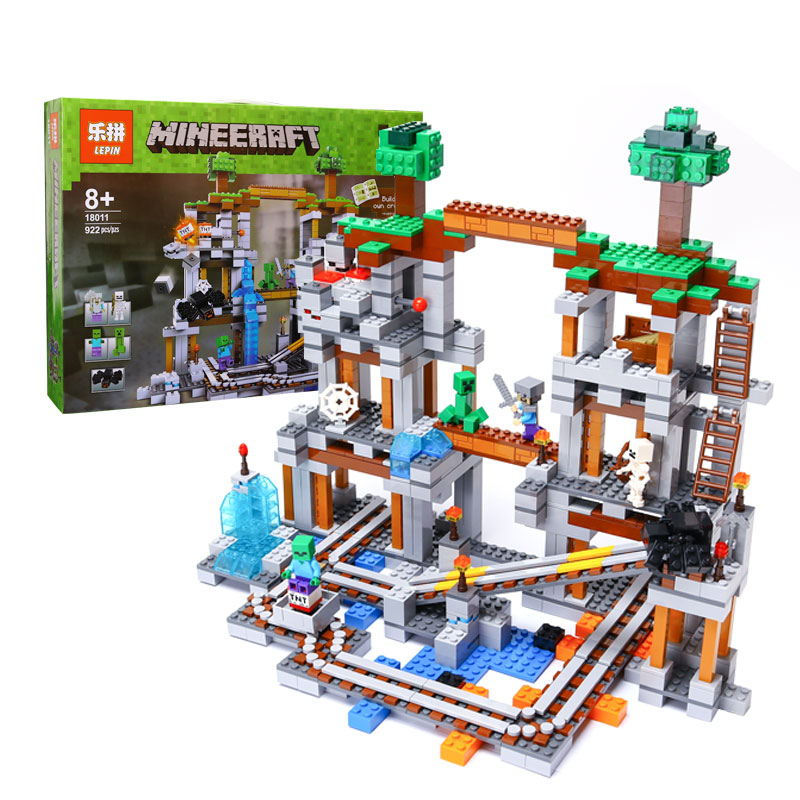 Minecrafted The Mine 922 Pcs Mini Bricks Set Lepin My World Building Blocks Assembled Toys For Kid Compatible with Lego 18011 часы mini world mn1012a