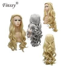 Ladies Wig Wavy 90CM Silver Golden Cosplay Wigs Hair Game of