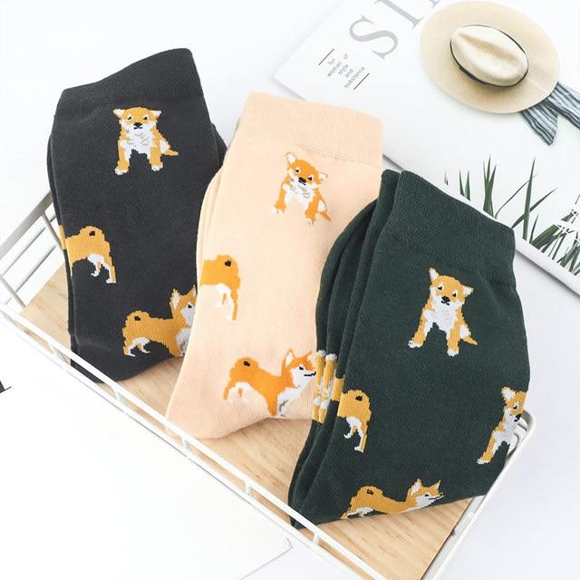 1 par encantador las mujeres de dibujos animados de algodón peinado. Calcetines divertidos para mujer perro Shiba inu Corgi patrón Animal lindo calcetín Casual 2019 nuevo