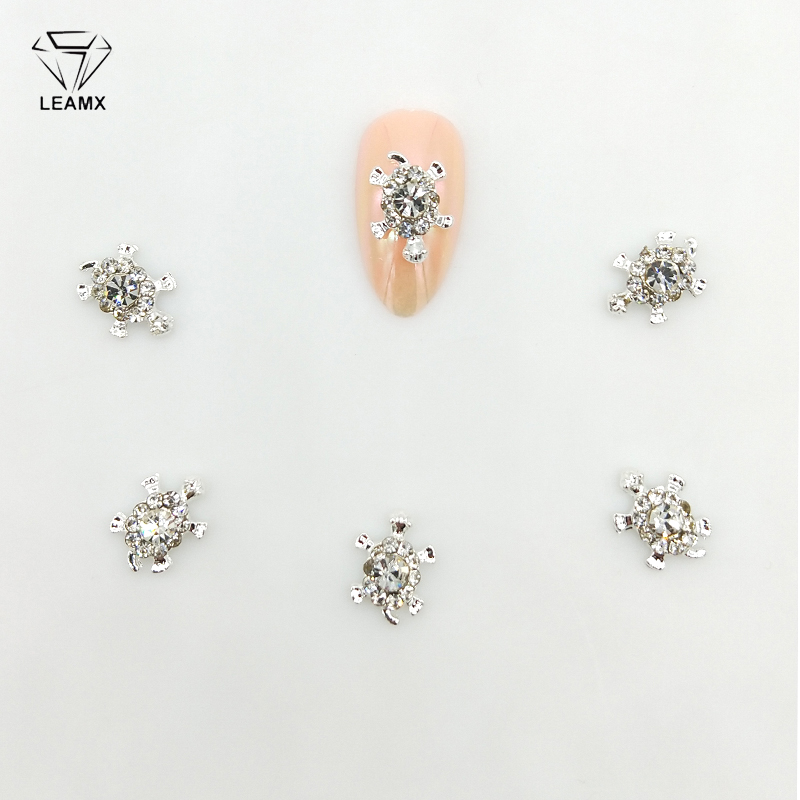 LEAMX 10 PCS/bag Tortoise Nail Art Decorations Gems Glitter Clear Rhinestones Nails Charms 3D Alloy Nail Diamonds Manicure L407